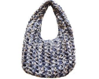 Handmade Blue Crochet Shoulder Bag