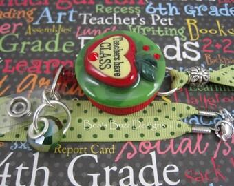 CHIC PROFESSEUR   - Teacher Retractable ID Badge Holder / Teacher's Lanyard,Retractable Badge,teacher gift,teacher jewelry,teachers name tag