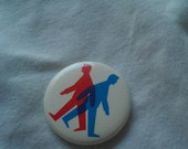 Two Men on a Pin in Red White and Blue Vintage Pin