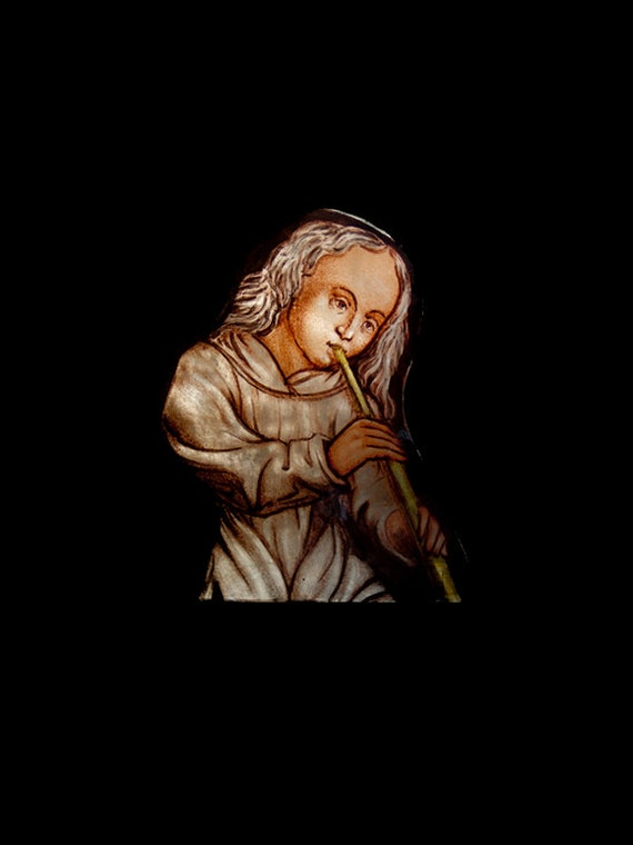 Antique Angel / Boy Playing a Horn, Gothic Revival Stained Glass, Church Window Fragment, Exquisite Historic Architectural Artifact.