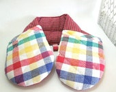 Pot Holder Oven Mitt, Double Oven Mitt, Red Check 2 Handed Pot Holder