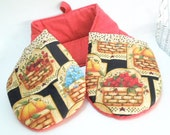 2 Handed Pot Holder, Double Oven Mitt, Basket Pot Holder, Red Oven Mitt