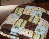 Frogs, Patchwork Flannel and Minky Baby Quilt with Baby Frogs, Soft greens, browns and blue on cream