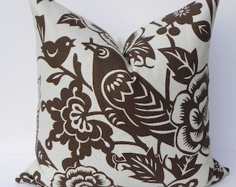 Thomas Paul-Aviary-Floral Decorative Pillow Cover 20X20 Home Decor Fabric-Throw Pillow-Accent Pillow-Toss Pillow-Brown-Bird Pillow