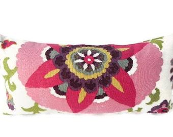 Floral Decorative Pillow Cover 10X20 Home Decor Fabric-Throw Pillow-Pink-Accent Pillow-Lumbar Pillow-Toss Pillow