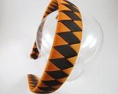 Brown Headband - Orange Headband - Fall Headband - Ribbon Woven Headband - Braided Headband - Child Teenager Adult Headband