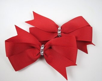 Red Hair Bows - Valentines Day Hair Bow Set - Pigtail Hair Bows - Red and Silver Hair Clips - Toddler Teenager Adult Hair Clip - Valentines