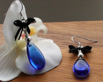 Blue Teardrop Earrings, made with Black Bow, tied with Leather, and Sterling Silver Bead
