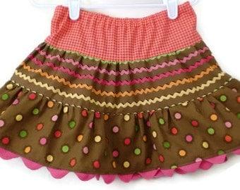 Girl's Twirl Skirt, Toddler Skirt, Little Girls Skirts, Brown Skirt, Fall Skirt, Handmade Skirt, Toddler Fall Skirt, Girls Fall Skirt