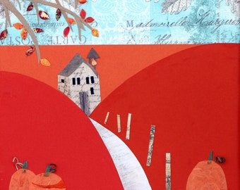 Fall landscape collage,  bright colors, orange and blue, pumpkins, country house, mixed media on canvas, square, leaves, autumn art, Vermont