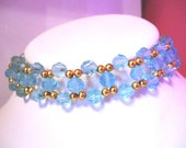 Turquoise blue crystal glass choker necklace approx 14 inches long plus extension chain by JulieDeeleyJewellery on Etsy Ladies Jewelry