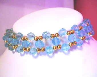 Turquoise blue crystal glass choker necklace approx 14 inches long plus extension chain-Handmade Necklace-Gifts for women-Gifts for her