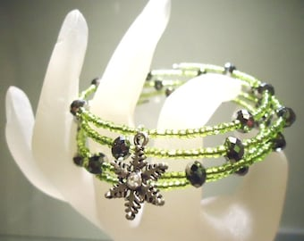 Snowflake Charm Lime Green Memory Cuff Expandable Bracelet with Grey/Silver Crystal Faceted Beads by JulieDeeleyJewellery on Etsy