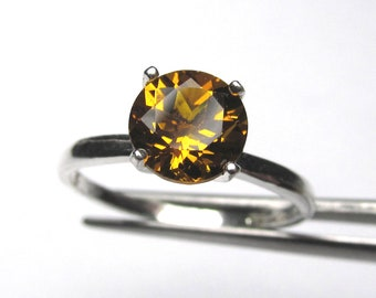 Striking Genuine Madeira Citrine in Sterling Silver Ring Size 7