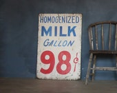 Vintage hand-painted wood Homogenized Milk Sign (a)