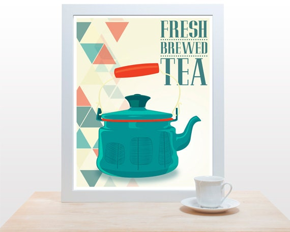 Mid Century Teapot - Fresh Brewed Tea decor wall kitchen nature modern triangle typography Nordic branches red teal green geometric yellow