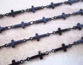 2m (6.5feet)5x13mm black color copper cross shape chains