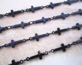 2m (6.5feet)5x13mm black color copper cross shape chains