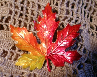 Hand Painted Vermont Maple Leaf Pin. Large