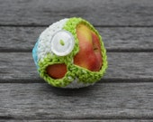Cotton Apple Cozy in Green, White, and Blue - RTS