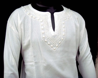 Mens Handmade White Kurta Shirt Tunic Top Cotton Chikankaari Hand Embroidered summer trends fathers day kurti