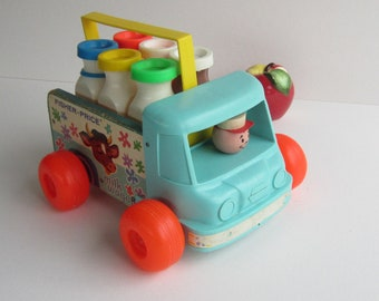 Fisher Price Milk Wagon Number 131 and Vintage 637 Milk Carrier