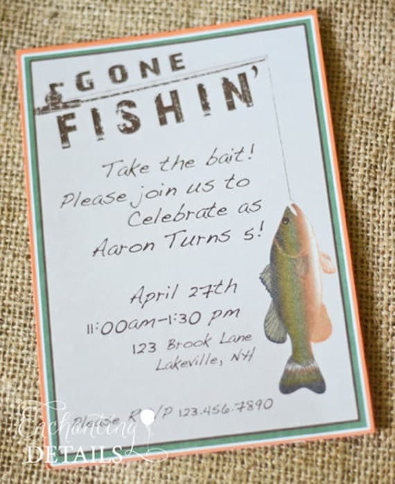 Items similar to instant download fishing printable gone for Fishing birthday invitations