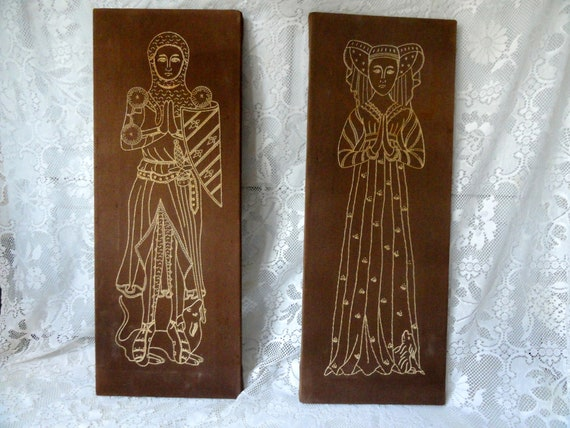 embroidered wall hangings of a medieval  Knight and Lady