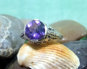 Spring Special, Victorian Era Sterling Silver and Purple Amethyst Ring, Filigree Design, Stunning