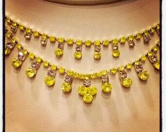 Neon Yellow Rhinestone Necklace