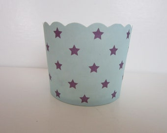 24 Light Blue with Purple Star Scalloped Portion Nut Favor Baking Cup