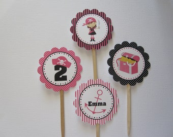 12 Personalized Girl Pirate Cupcake Toppers