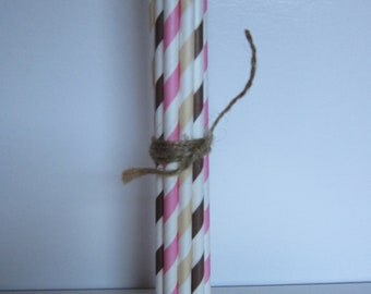 Pink, Brown & Cream ~ Neopolitan ~ Icream Party ~ Paper Drinking Straws ~ Set of 24
