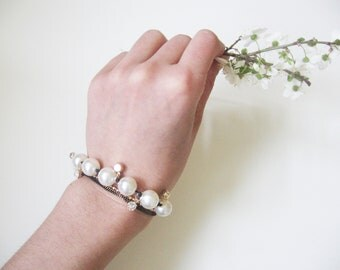Romantic pearl bracelet- rhinestone square crystals- round pearls black chain