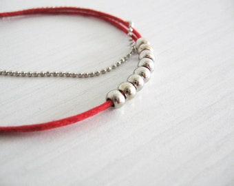 Dainty cord bracelet-  minimalist bracelet- beads on cord and chains - fall fashion
