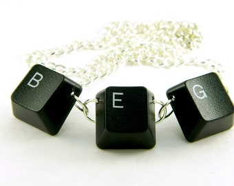 Unisex Necklace Recycled Computer Keyboard BEG (Big Evil Grin)