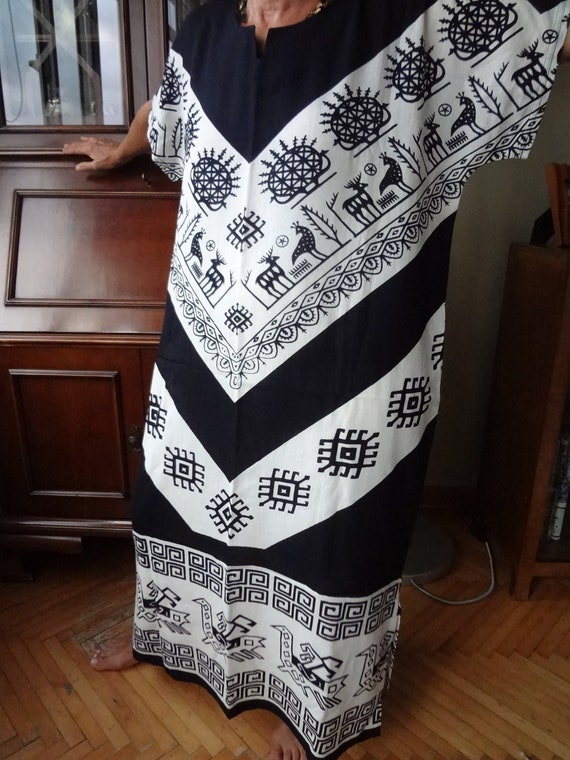 Long dress made of  hand-blocked material from Turkey - medium/large size