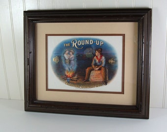 Framed Vintage Cigar Box Label Picture