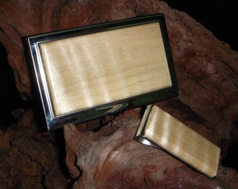 Business Card Case Set - Curly Maple - Gift for Dad - Gift for the Groom - Birthday Gift - Corporate Gift - FREE Engraving