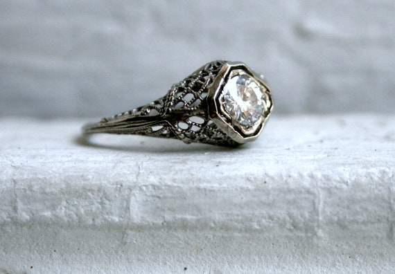 RESERVED - Fabulous Vintage Filigree 14K White Gold Diamond Engagement Ring - 0.65ct