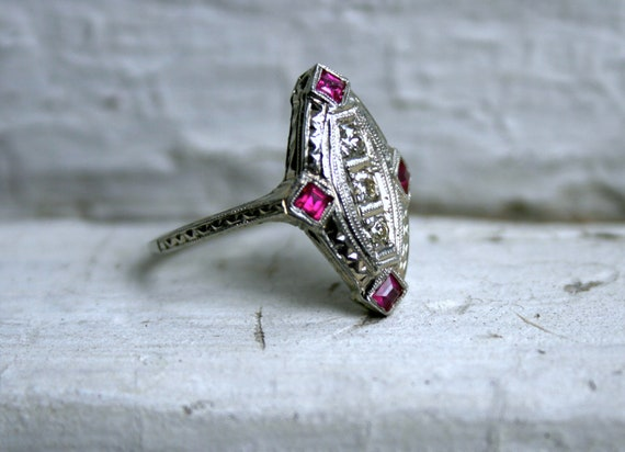 Fantastic Vintage 18K White Gold Diamond and Ruby Navette Ring by Belais.