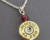 35% Off - Bullet Necklace - Federal 40 S&W with Garnets Sterling Silver