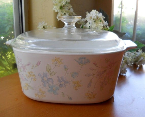 Large 3 Liter Corning Ware Casserole Pastel Bouquet