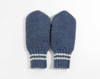 Hand Knitted Mittens - Blue, Size Large