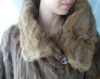 Vintage Fur Coat - Dyed Fox Fur  -Full Length Fur - Vintage Flapper Fur - Size S-M Fur Coat