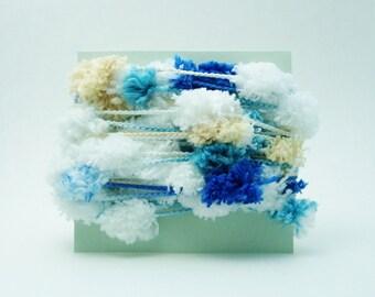 Pom Pom Garland Blue White String Yarn Trim 6 Yards