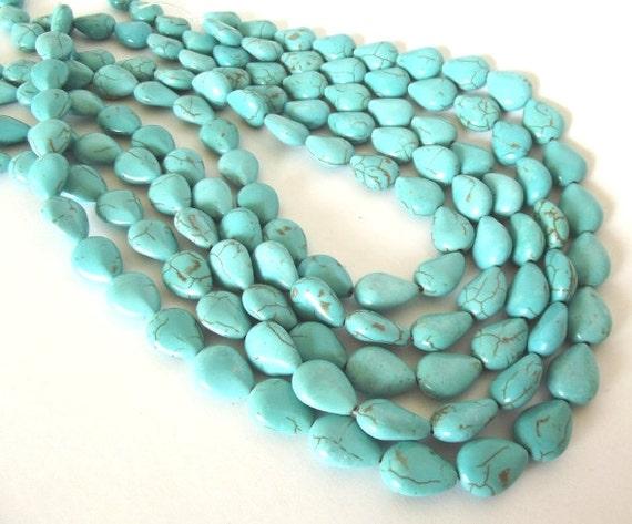 "Turquoise Magnesite Puffed Teardrop Beads - 14x10mm - 16"" Strand"
