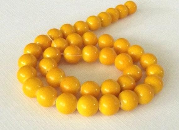 "Mountain Jade (dyed) Beads, Yellow, 10mm Round - 15"" Strand"