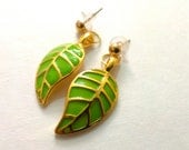 Green and Gold Leaf Earrings Stud