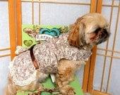 Dog Wedding Dress, Small Dog Harness,  Brown Cream Toile Pet Dress